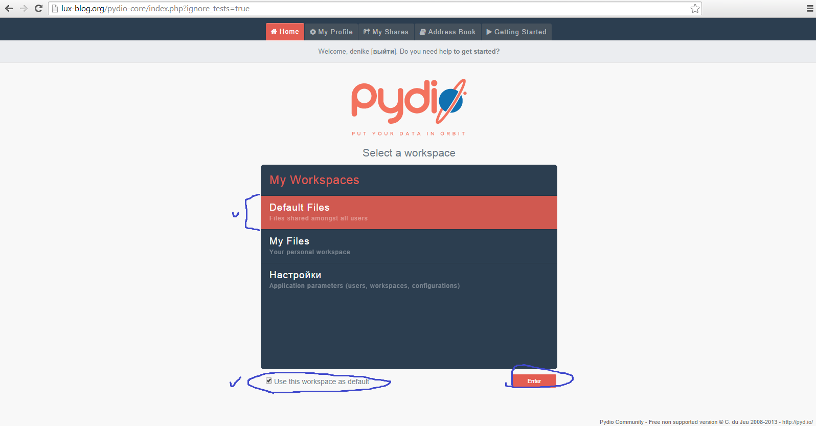 Pydio, file manager at lux-blog